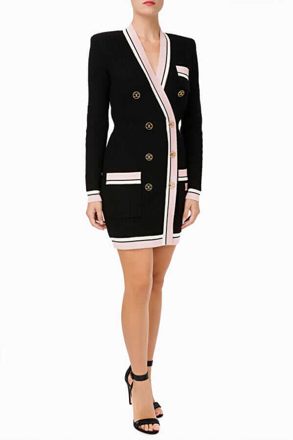 Sukienka dzianinowa dwurzędowa z guzikami 2 kolory Elisabetta Franchi7