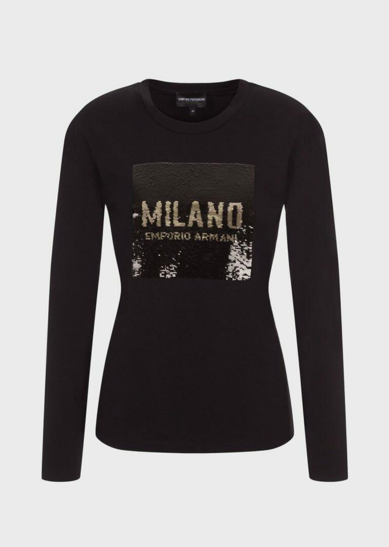 czarna bluzka z cekinami zlotymi emporio armani milano 3