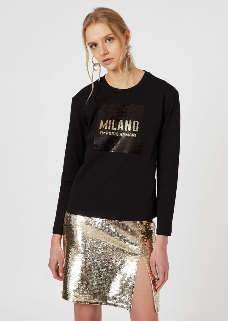 czarna bluzka z cekinami zlotymi emporio armani milano 5