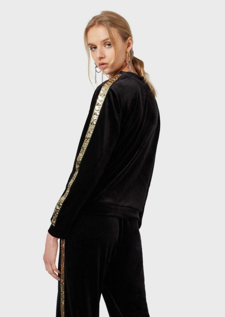 damska bluza z aksamitu ze zlotymi cekinami emporio armani 1