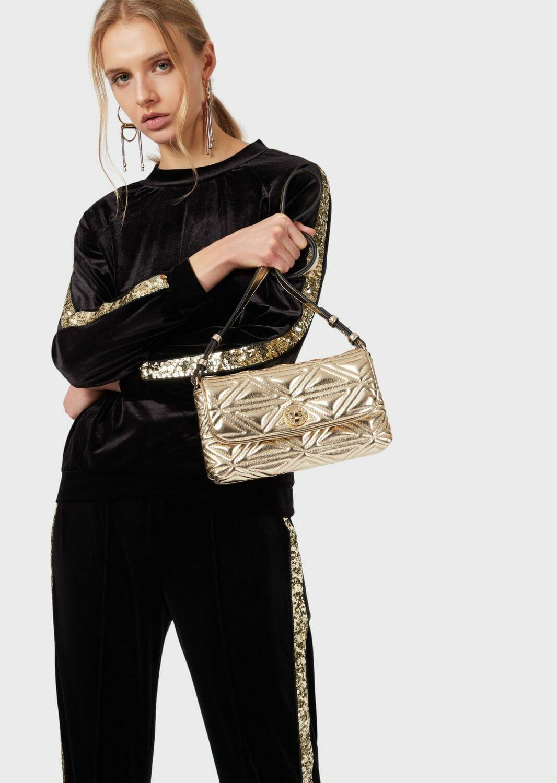 damska bluza z aksamitu ze zlotymi cekinami emporio armani 2