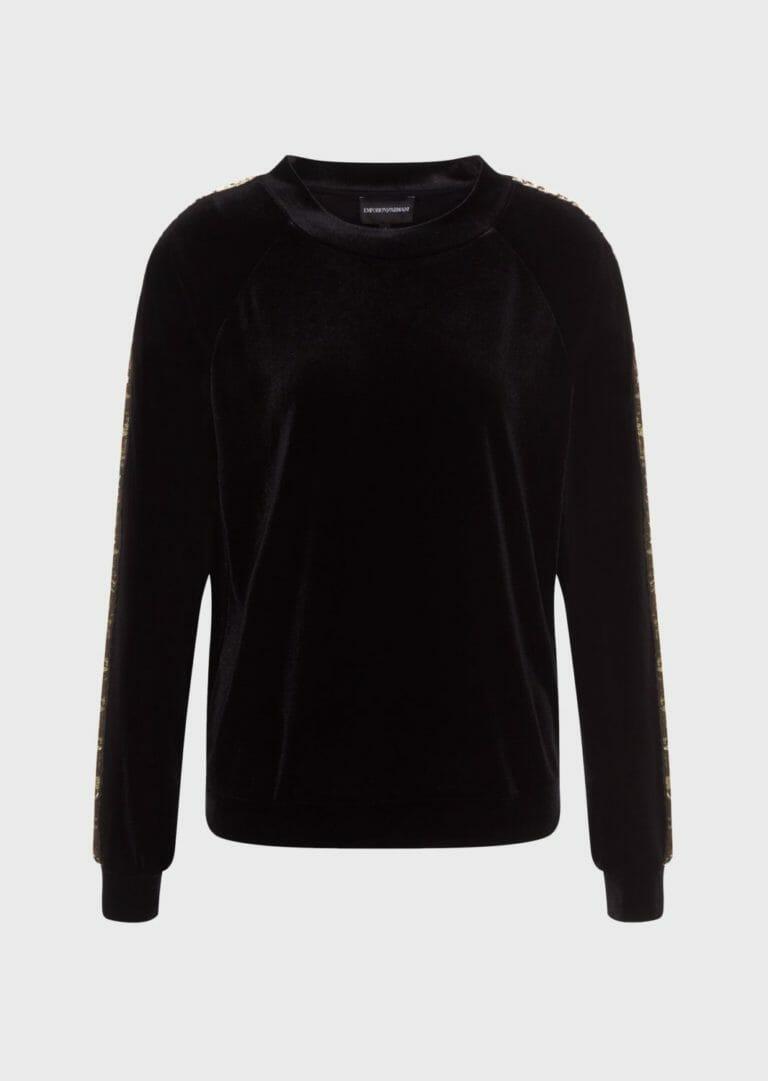 damska bluza z aksamitu ze zlotymi cekinami emporio armani 4
