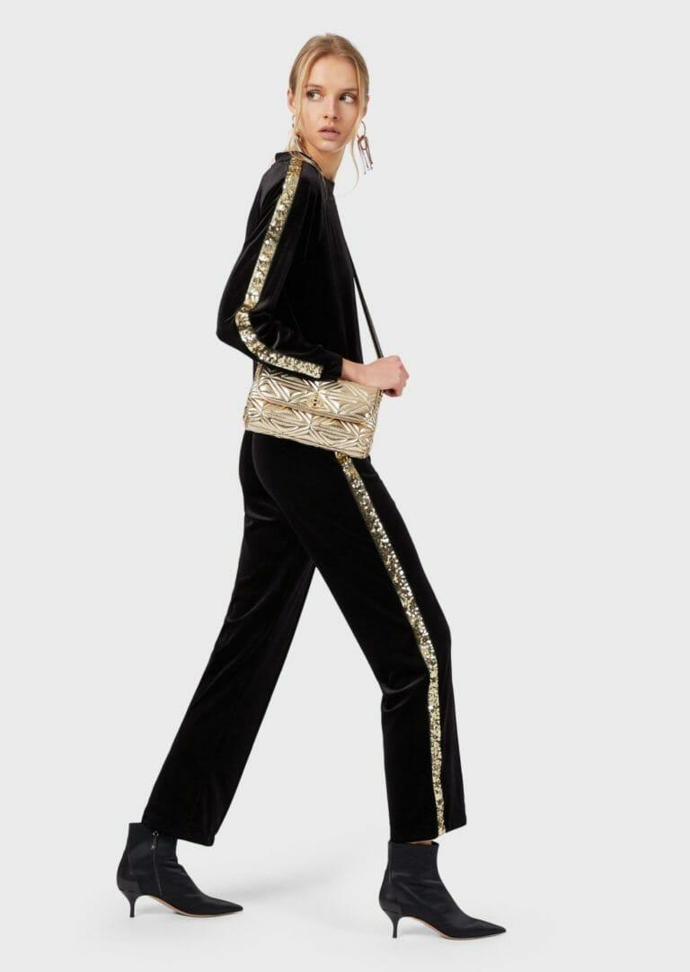 damska bluza z aksamitu ze zlotymi cekinami emporio armani 5