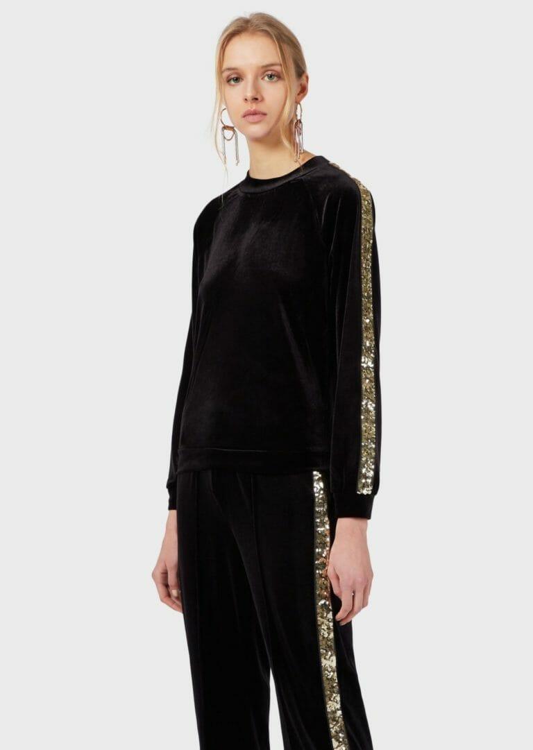 damska bluza z aksamitu ze zlotymi cekinami emporio armani 6