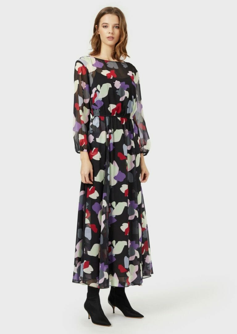dluga sukienka emporio armani zwiewna letnia w kolorowe laty 5