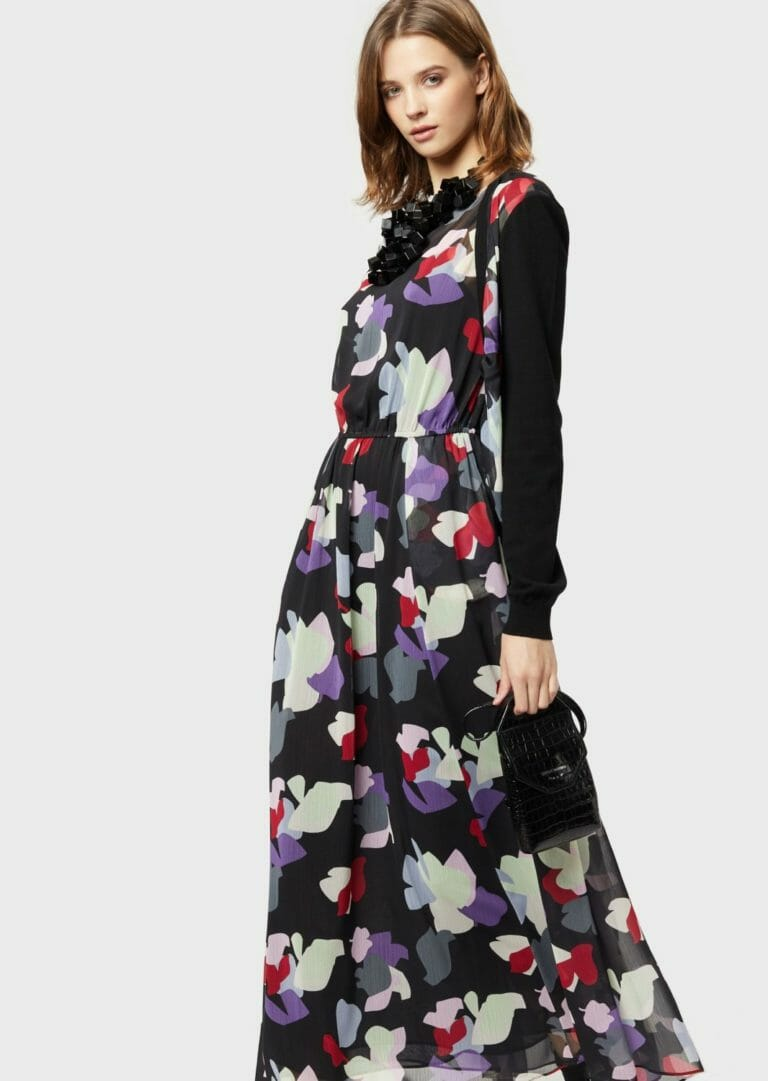 dluga sukienka emporio armani zwiewna letnia w kolorowe laty 7