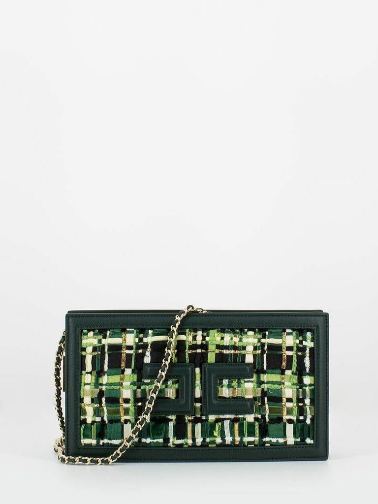 elisabetta franchi borsetta verde bottiglia con fronte effetto tweed1 1024x1024
