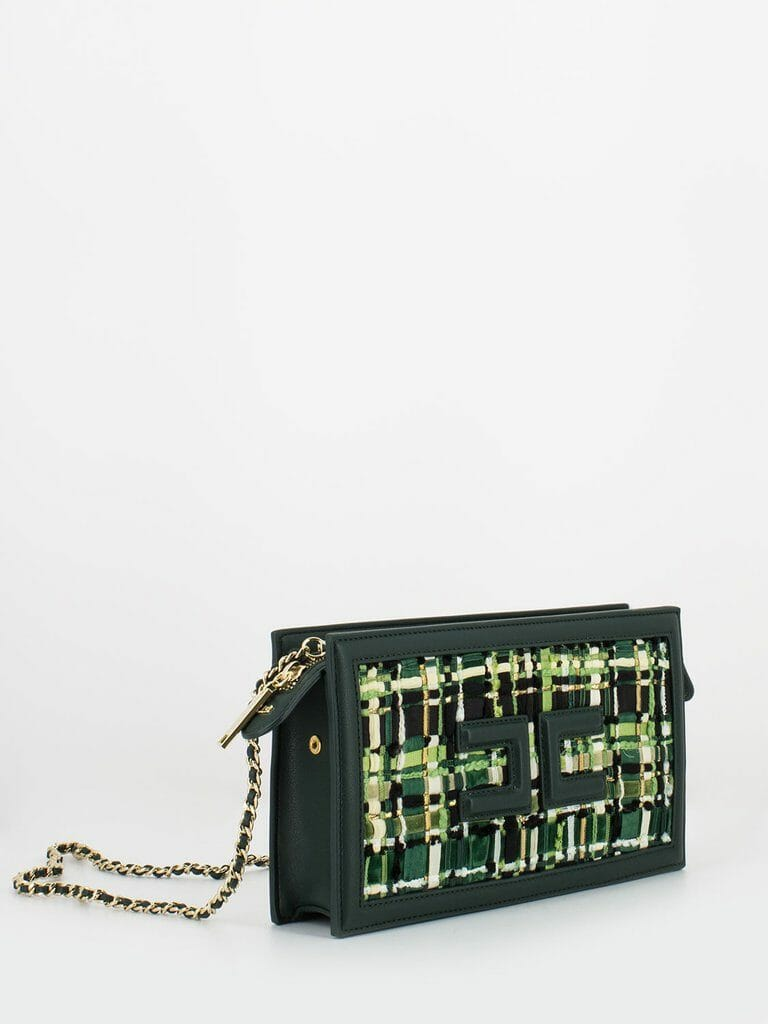 elisabetta franchi borsetta verde bottiglia con fronte effetto tweed2 1024x1024