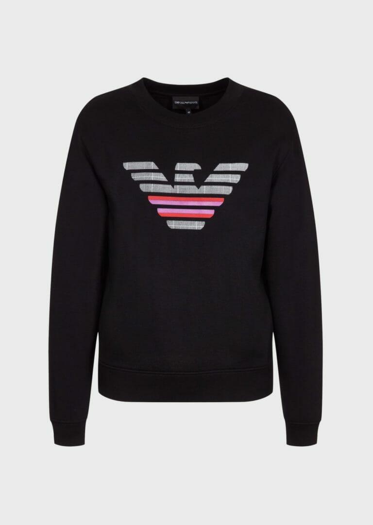 emporio armani bluza damska czarna z duzym logo 3