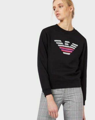 emporio armani bluza damska czarna z duzym logo 5