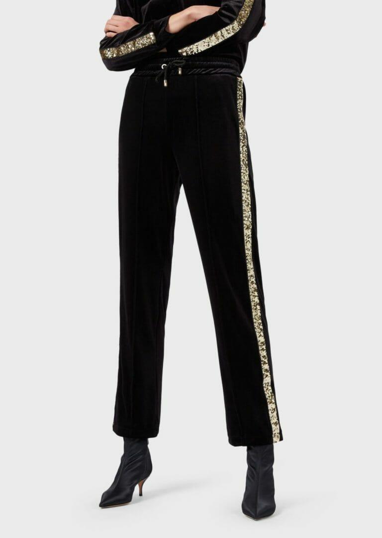 spodnie sportowe z aksamitu z cekinowym zlotym lampasem 2