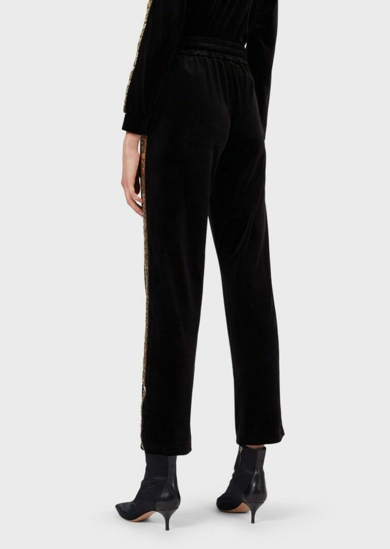 spodnie sportowe z aksamitu z cekinowym zlotym lampasem 3