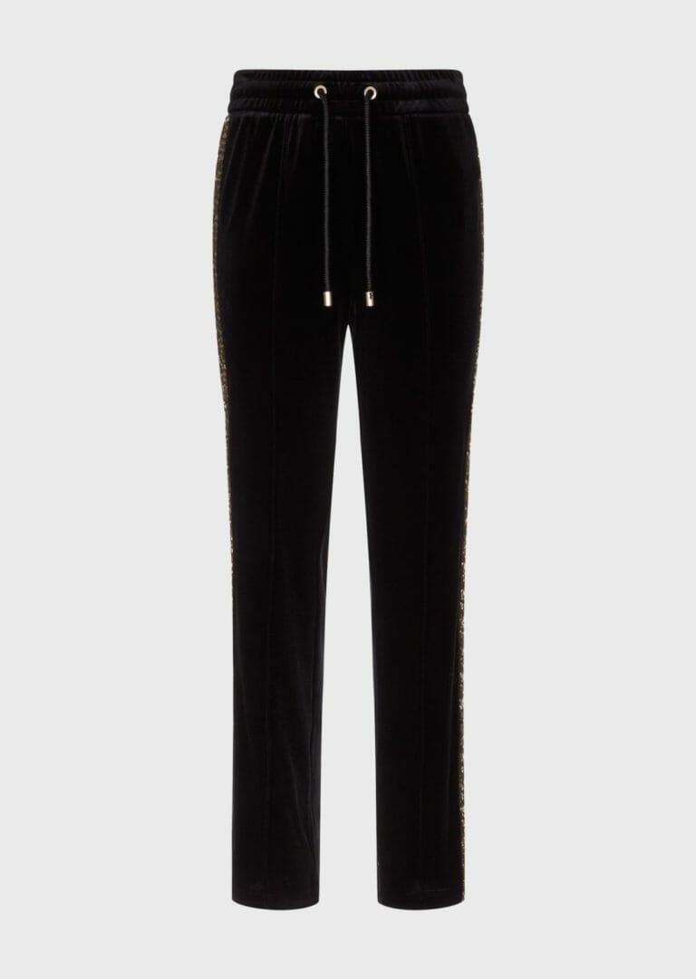 spodnie sportowe z aksamitu z cekinowym zlotym lampasem 4