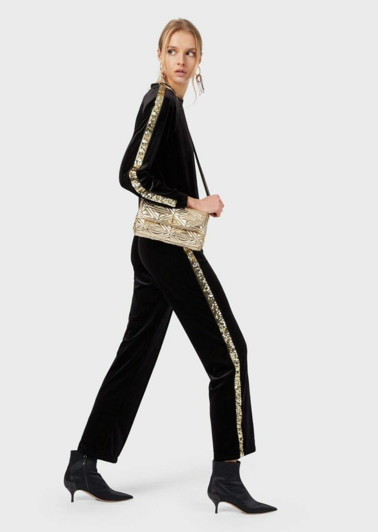 spodnie sportowe z aksamitu z cekinowym zlotym lampasem 5