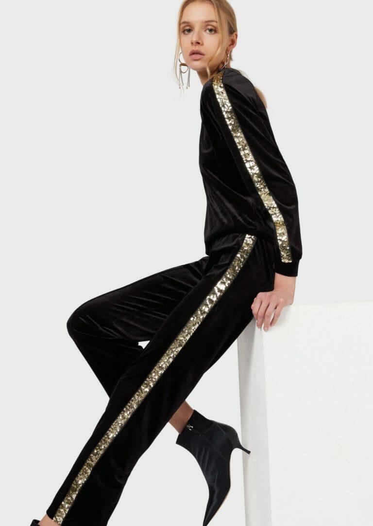 spodnie sportowe z aksamitu z cekinowym zlotym lampasem 6