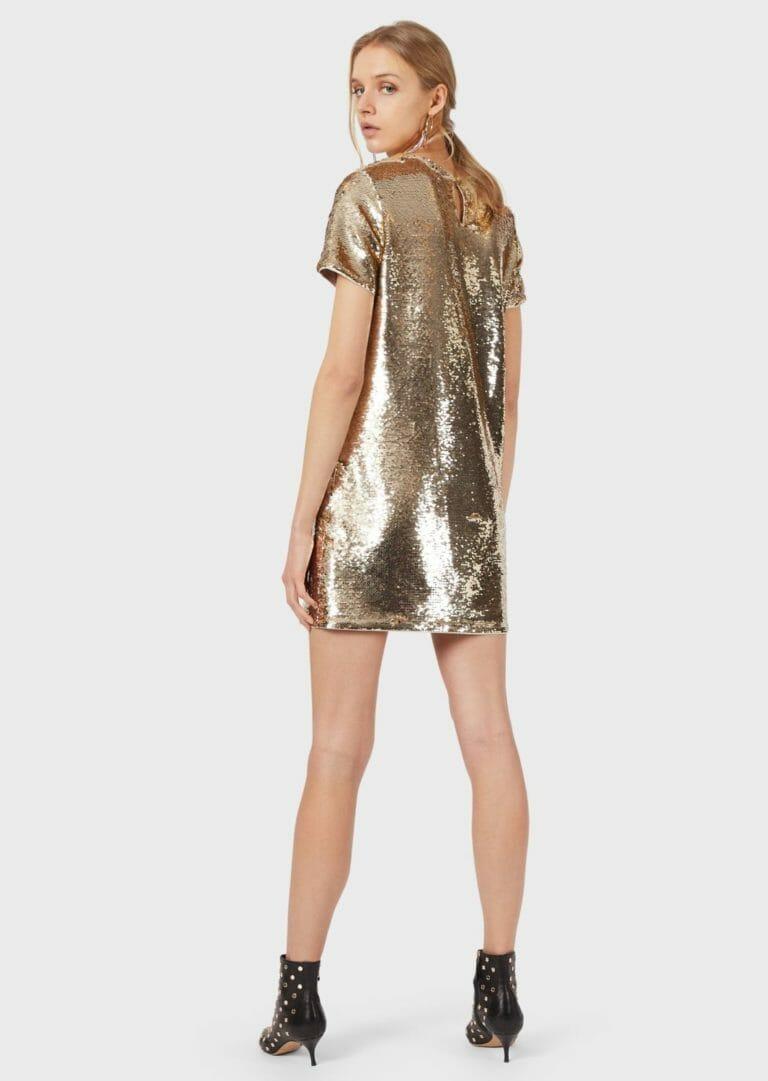 złota sukienka cekinowa emporio armani 1