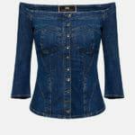 Jeansowa bluzka z odkrytymi ramionami - Elisabetta Franchi