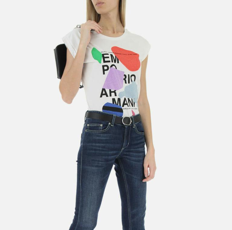 bialy t shirt damski emporio armani z cyrkoniami 7