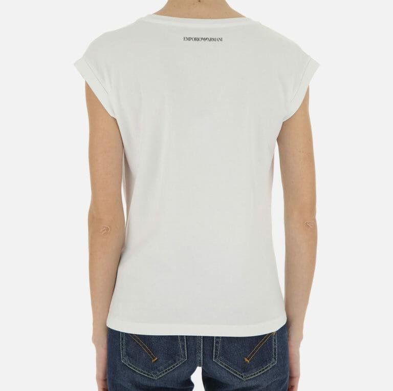 bialy t shirt damski emporio armani z cyrkoniami 8