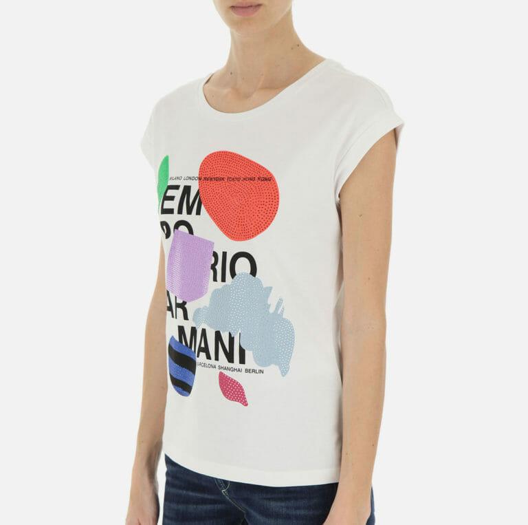 bialy t shirt damski emporio armani z cyrkoniami 9