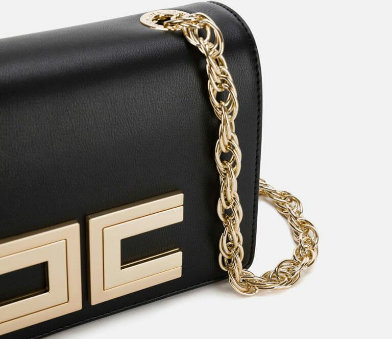 czarna listonoszka torebka z logo elisabetta franchi