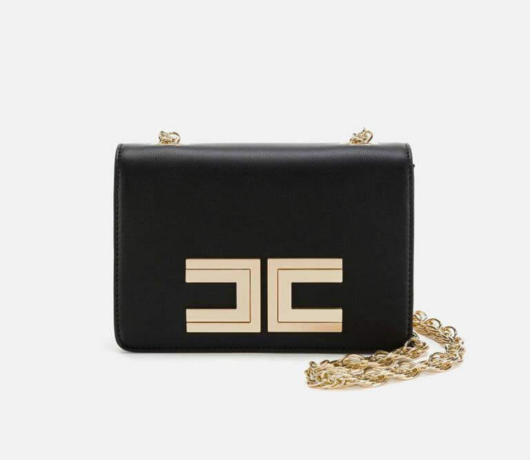 czarna listonoszka torebka z logo elisabetta franchi4