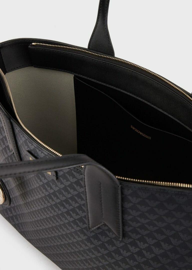 czarna shopperka emporio armani z logo 1