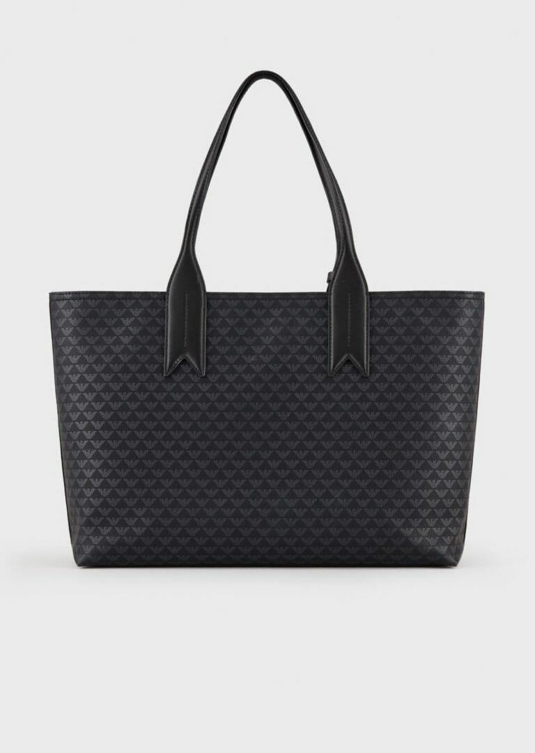 czarna shopperka emporio armani z logo 3