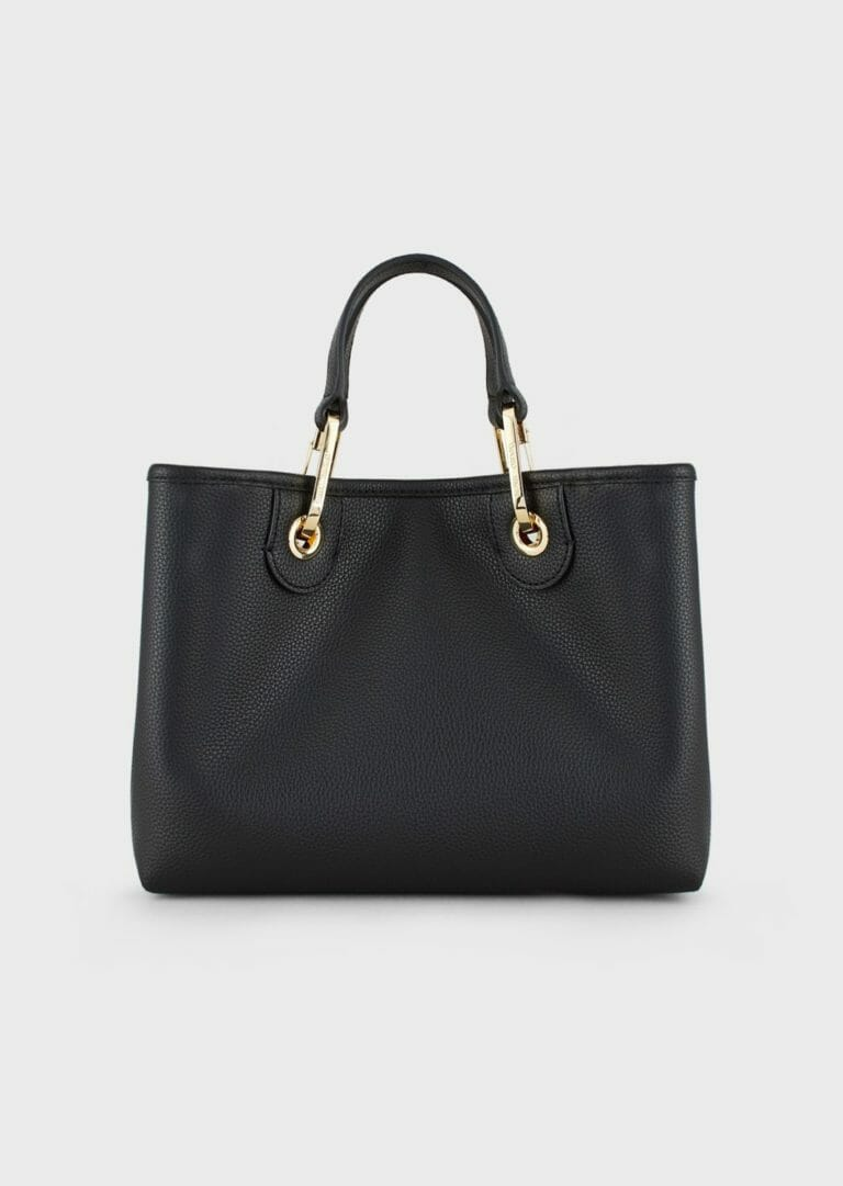 czarna torebka skorzana emporio armani z szerokim paskiem z logo 6