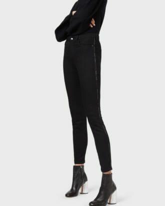 czarne spodnie damskie emporio armani z lampasem brokatowym logo 1