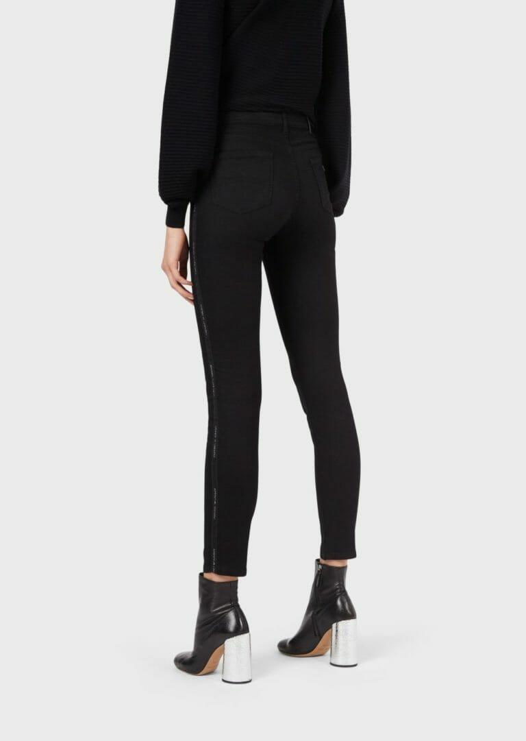 czarne spodnie damskie emporio armani z lampasem brokatowym logo 2