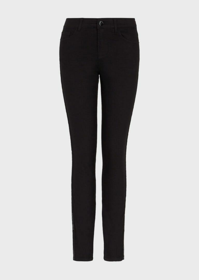 czarne spodnie damskie emporio armani z lampasem brokatowym logo 3