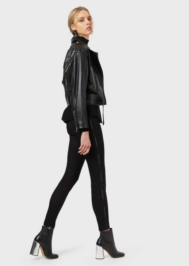 czarne spodnie damskie emporio armani z lampasem brokatowym logo 4
