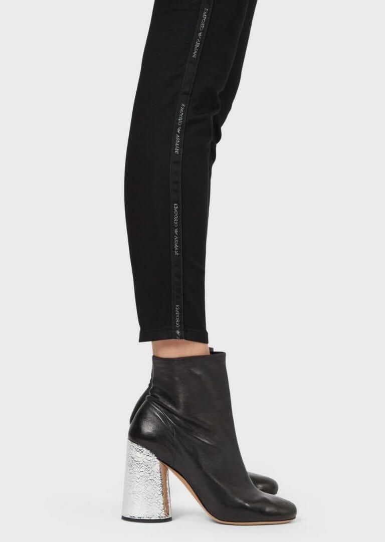 czarne spodnie damskie emporio armani z lampasem brokatowym logo 6