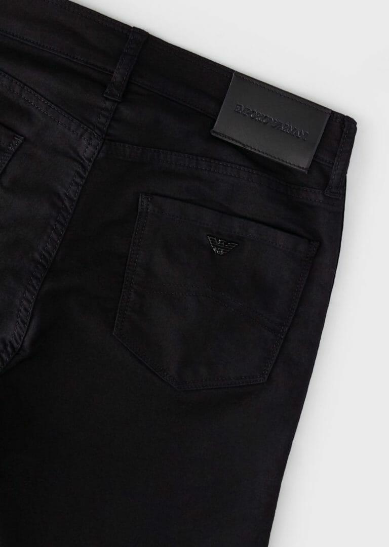 czarne spodnie damskie emporio armani z lampasem brokatowym logo 7
