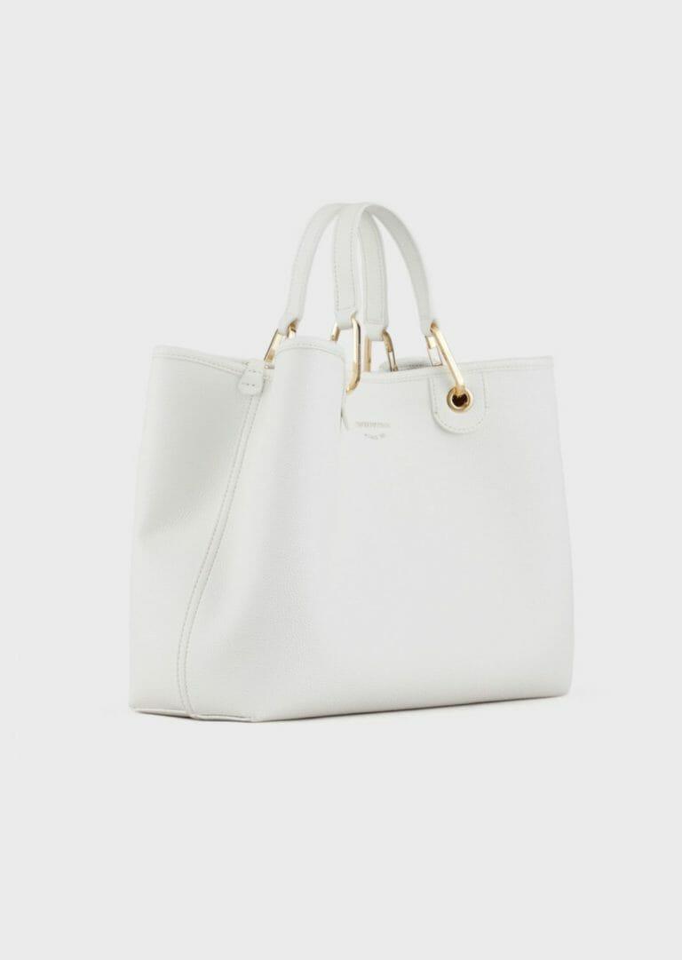 duza biala torebka z szerokim paskiem na ramie z logo emporio armani 3
