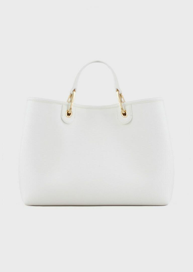 duza biala torebka z szerokim paskiem na ramie z logo emporio armani 5
