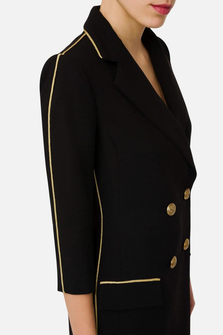 dwurzedowa sukienka plaszcz czarny 1