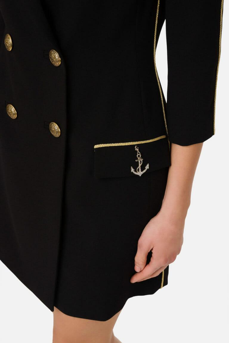 dwurzedowa sukienka plaszcz czarny 2