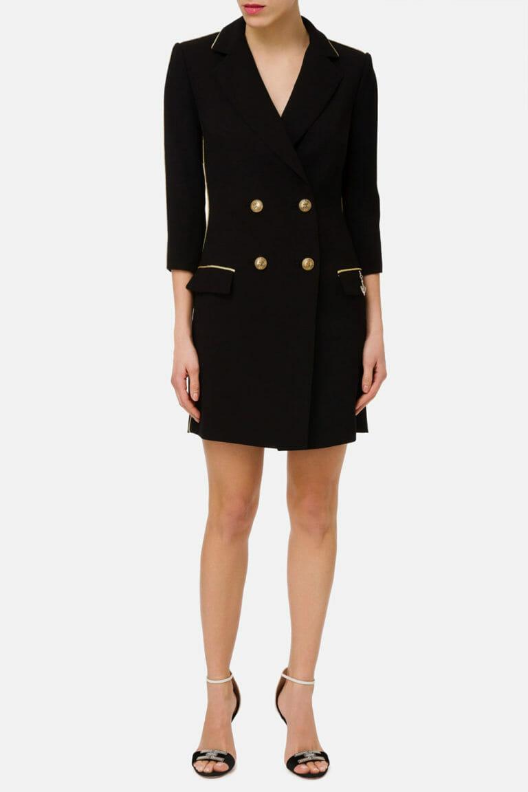 dwurzedowa sukienka plaszcz czarny 3
