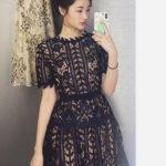 Granatowa sukienka z koronki - Self Portrait