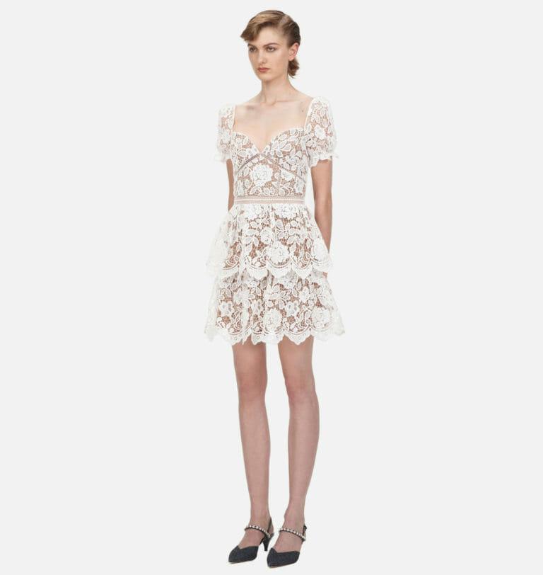 biala koronkowa zwiewna sukienka self portrait 1