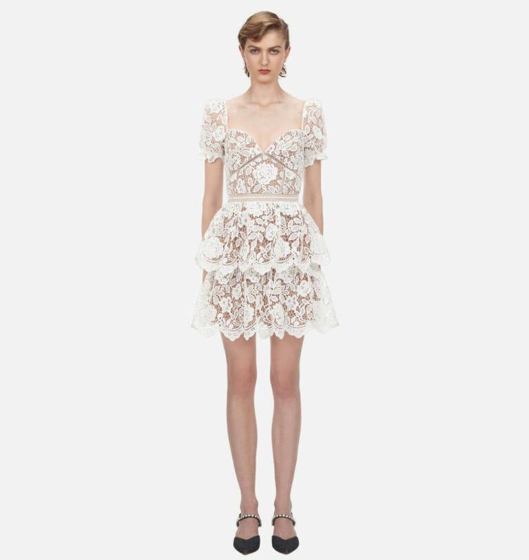 biala koronkowa zwiewna sukienka self portrait 4