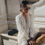 Kremowa sukienka mini z koronkowym wykończeniem - Self Portrait