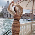 Cielista, długa sukienka w kropki - Self-Portrait