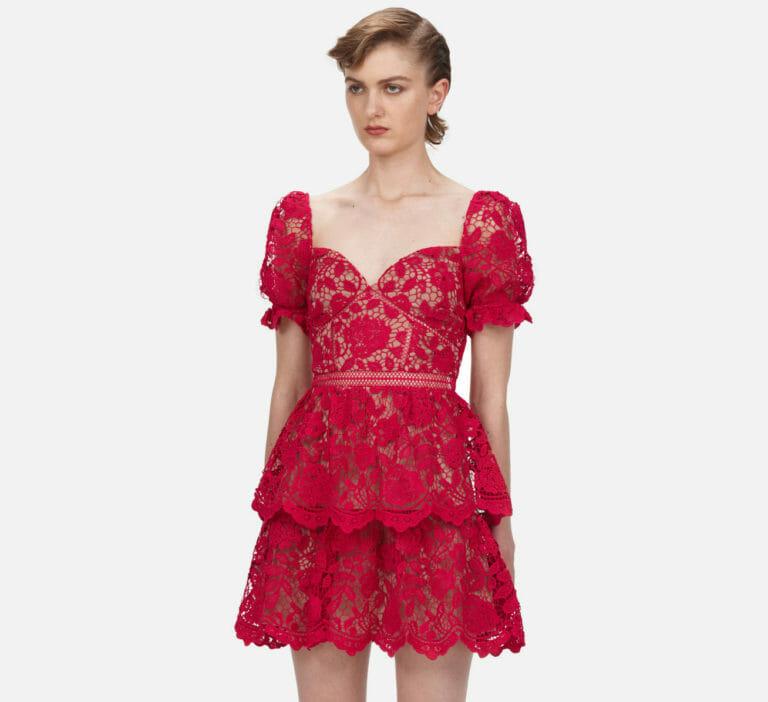 różowa fuksja koronkowa krotka sukienka self portrait 3