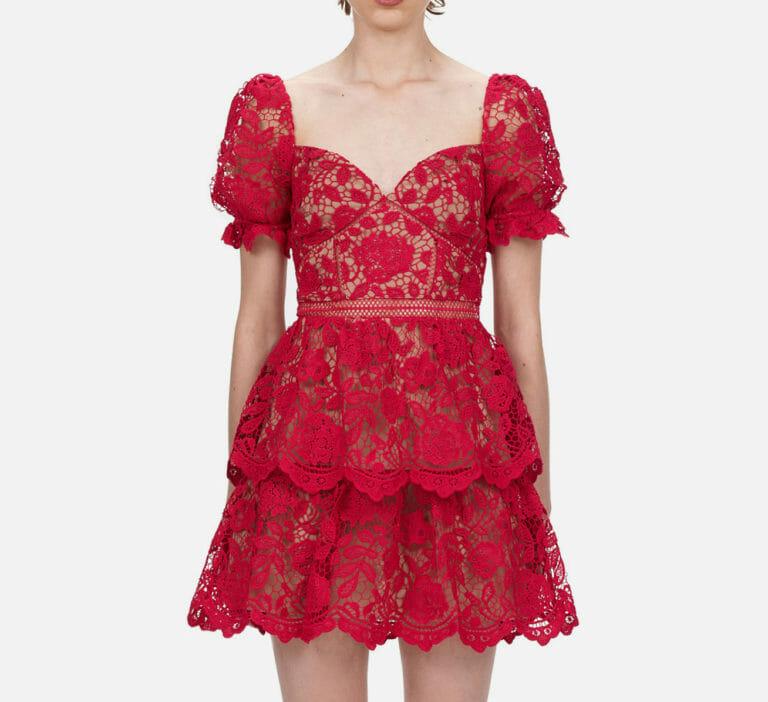 różowa fuksja koronkowa krotka sukienka self portrait 4