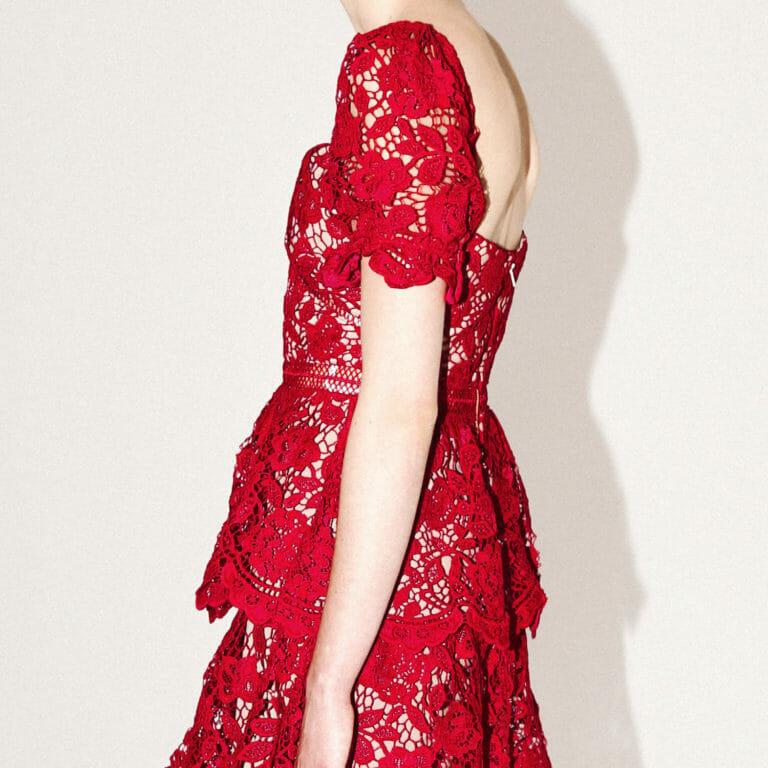 różowa fuksja koronkowa krotka sukienka self portrait 5