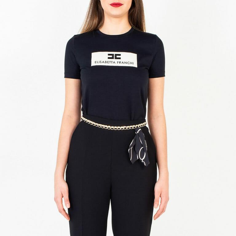 t shirt czarny elisabetta franchi z logo