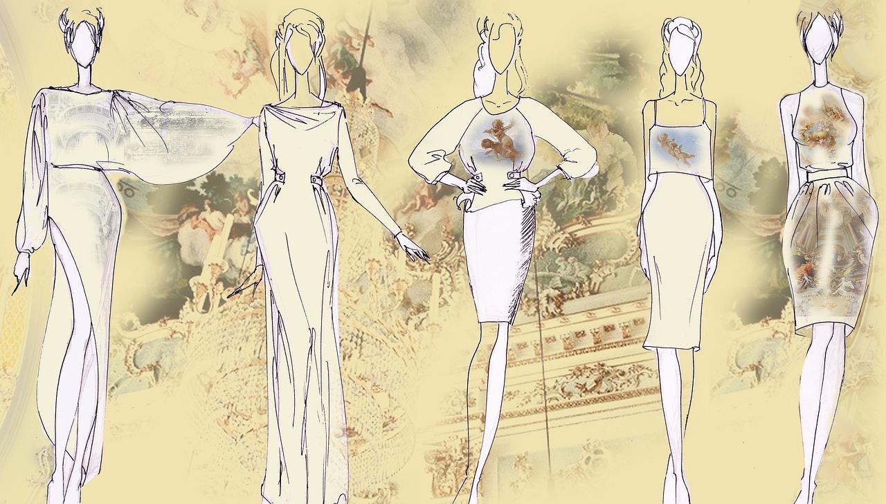 moda damska szkic sukienki